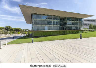 BARCELONA,SPAIN-AUGUST 5,2015: Modern architecture, building Edificio Nexus II, by Ricard Bofill, occupied by technology companies and University, Barcelona.