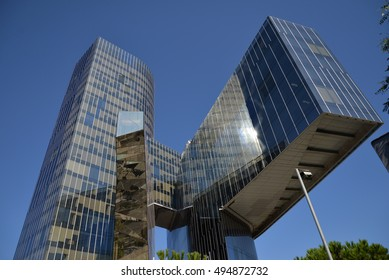 BARCELONA,SPAIN-AUGUST 9,2016: Modern architecture, Torre Mare Nostrum or building Gas Natural Fenosa, of architects Enric Miralles and Benedetta Tagliabue. Barcelona.