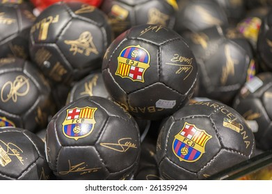 BARCELONA,SPAIN-CIRCA MARCH 2015: Balls with FC Barcelona emblem at the official store
