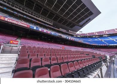 BARCELONA,SPAIN-CIRCA MARCH 2015: At the tribunes of Camp Nou stadium