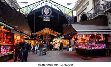 BARCELONA,SPAIN-FEB 18,2017: Entrance of La Boqueria market, next to Les Rambles in Barcelona, Catalonia, Spain