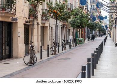 BARCELONA,SPAIN-JANUARY 15,2016:Old street in Poblenou quarter of Barcelona.