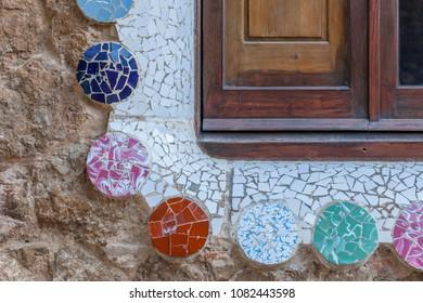 BARCELONA,SPAIN-JANUARY 21,2015:Modernist style garden, Park Guell, Gracia quarter of Barcelona.