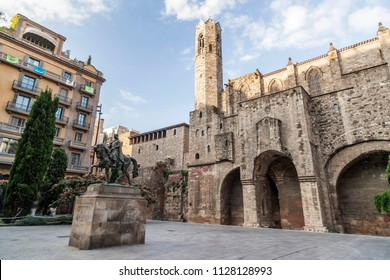 BARCELONA,SPAIN-JULY 5,2018: Gothic quarter, square with medieval walls of Barcelona.