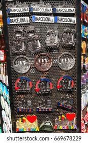 Barcelona,Spain-June 14,2017: fridge magnets representing Barcelona for sale on Las Ramblas