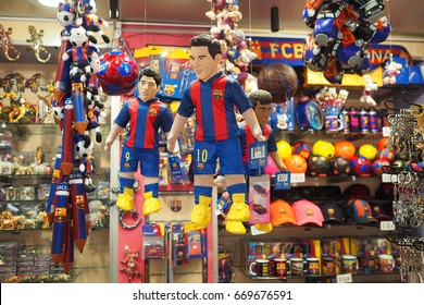 Barcelona,Spain-June 14,2017: puppets representing FC Barcelona's football players Lionel Messi,Neymar,Luis Suarez and others souvenirs for sale in a store in Barcelona,Spain