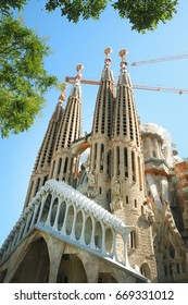 Barcelona,Spain-June 14,2017:La Sagrada Familia, the cathedral designed by Antoni Gaudì, which is being build since 19 March 1882 and not yet finished