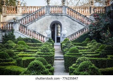 BARCELONA,SPAIN-MARCH 15,2017:Park and garden labyrinth,Parc laberint Horta,Barcelona.Park and garden labyrinth,Parc laberint Horta,Barcelona.