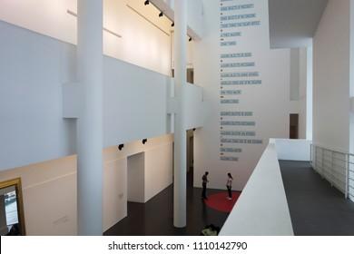 BARCELONA,SPAIN-MAY 12,2018: Interior view museum MACBA, Barcelona museum of contemporary art. El Raval quarter.