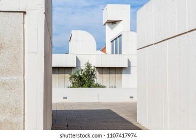 BARCELONA,SPAIN-MAY 18,2018: Joan Miro Foundation,Fundacio Miro, exterior building designed by Josep Lluis Sert in Montjuic park of Barcelona.