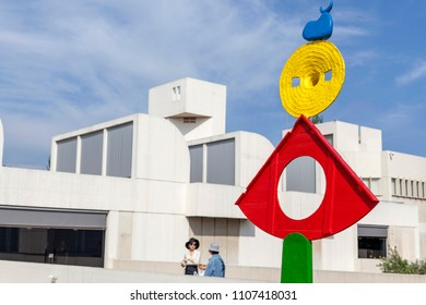 BARCELONA,SPAIN-MAY 18,2018: Joan Miro Foundation,Fundacio Miro, exterior building designed by Josep Lluis Sert in Montjuic park of Barcelona.