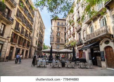 BARCELONA,SPAIN-MAY 26,2017:Street in El Born,trendy quarter in historic center of Barcelona.