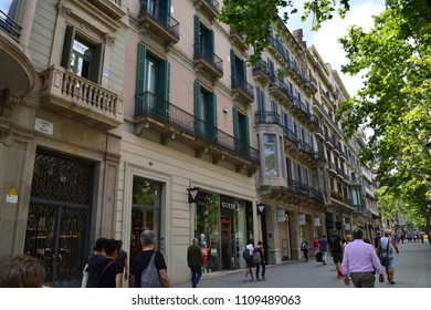 Barcelona/Spain-May 30 2018: view from Catalunya Square in Barcelona city centre