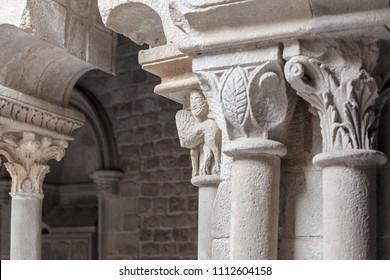 BARCELONA,SPAIN-NOVEMBER 10,2013: Cloister of romanesque monastery Sant Pau del Camp, located in raval quarter. Barcelona.