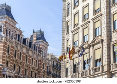 BARCELONA,SPAIN-NOVEMBER 1,2017:Street view, classic facade buildings in Eixample quarter of Barcelona.