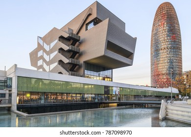 BARCELONA,SPAIN-NOVEMBER 27,2017:Modern architecture, building Disseny Hub Barcelona by MBM arquitectes and tower, torre agbarot tower glories by Jean Nouvel and  b720 Fermin Vazquez .Barcelona.