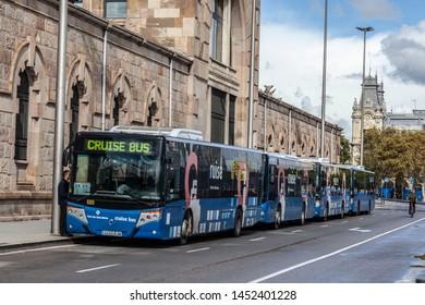 BARCELONA,SPAIN-OCTOBER 31,2019:  Cruise bus in port.