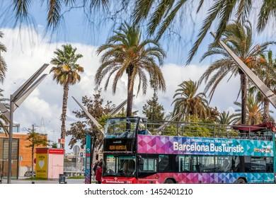 BARCELONA,SPAIN-OCTOBER 31,2019:  Touristic bus in port.