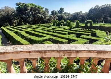 BARCELONA,SPAIN-OCTOBER 8,2014:Garden, Park Labyrinth, Parc Laberint Horta, oldest garden city designed in 1792 by Domenico Bagutti, Horta quarter, Barcelona.