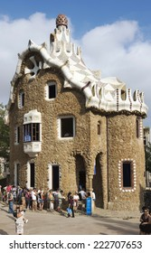 BARCELONA,SPAIN-SEPTEMBER 13-Tourists admire the Park Guell on September 13,2014 in Barcelona