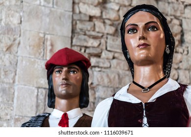 BARCELONA,SPAIN-SEPTEMBER 19,2014: Expo of Giants and big-heads,gigantes y cabezudos,traditional costumed figures festival.Barcelona.