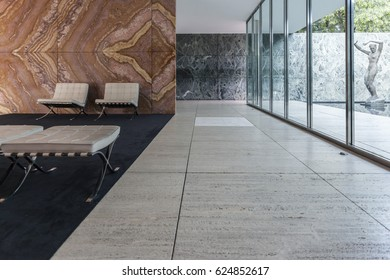 BARCELONA,SPAIN-SEPTEMBER 24,2016: Interior of Barcelona Pavilion, designed by Ludwig Mies van der Rohe, Barcelona.