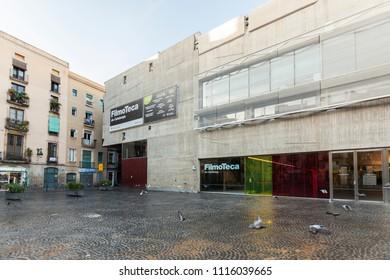 BARCELONA,SPAIN-SEPTEMBER 29,2014: Facade of Filmoteca de Catalunya,film archive,cinemas,exhibition rooms and library,building designed by MAP arquitectos in El Raval quarter of Barcelona.