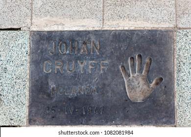 BARCELONA,SPAIN-SEPTEMBER 7,2015:Handprint of Johan Cruyff in pavement of square Plaza dels Campions in Vila Olimpica quarter, Barcelona.