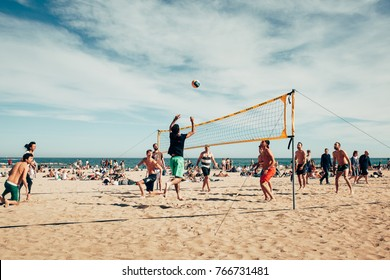 Barcelona,the people on the beach playing volleyball! 2017