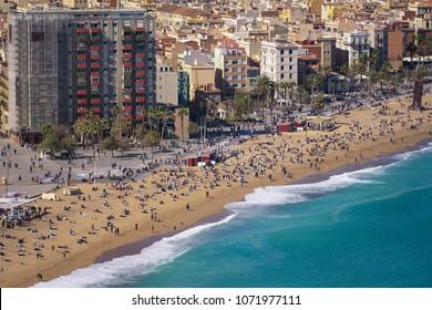 Barceloneta beach in Barcelona, Spain. Airview of the beach of Barceloneta.