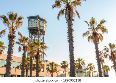 Barceloneta cablecar tower captured in a sunny day in Barcelona