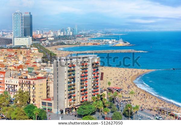 Barceloneta luxury beach and quay, Barcelona, Spain
