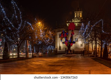 BARCELOS, PORTUGAL - CIRCA JAUARY 2019: View at the Pop Galo at night, public art inspired in the Barcelos cock, cosidered one of the most important symbols of Portuguese popular culture.