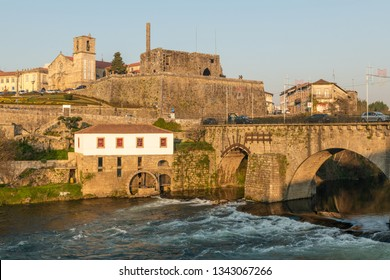 BARCELOS, PORTUGAL - CIRCA JAUARY 2019: View of Barcelos city with Cavado river in Portugal. It is one of the growing municipalities in the country.