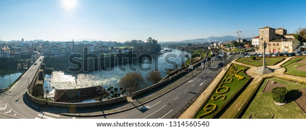 BARCELOS, PORTUGAL - CIRCA JAUARY 2019: View from the Barcelos city with Cavado river in Portugal. It is one of the growing municipalities in the country.