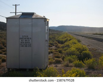 Barclay, NV / USA - Sept 27, 2009: A Union Pacific Railroad signal box for Beaver Dam Rd.