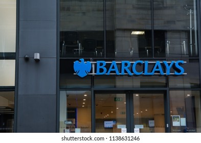 Barclays logo in town of Manchester, England on May 01, 2018.