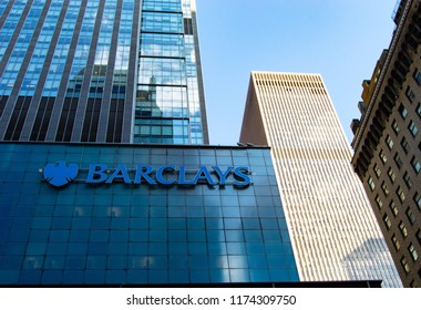 Barclays sign on the building in Manhattan. New York,NY, USA - September 6,2018