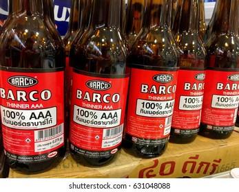 Barco Thinner bottles on the shelf in household department store. Bangkok, Thailand January 24,2017