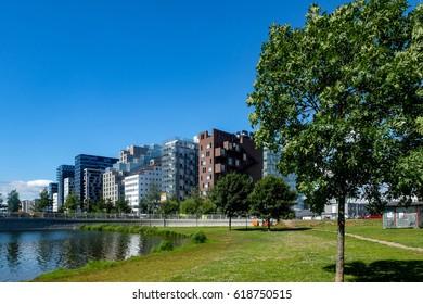 Barcode buildings seen from Middelalderparken in Oslo, Norway