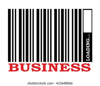 barcode with business text and loading bar
