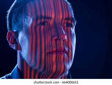 barcode in face as concept for data security and observation