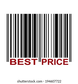 Barcode with label Best Price in red color