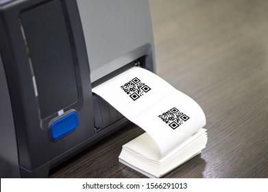Barcode label printer. Printing Barcode