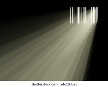 barcode like a window and passing light, 3d illustration