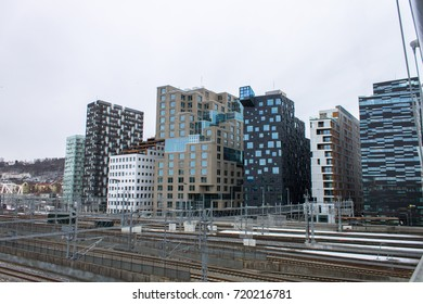 The Barcode Project in Oslo, Norway, as seen from the Railway Side