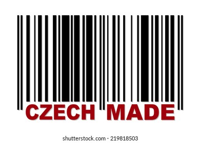 Barcode with red label Czech Made