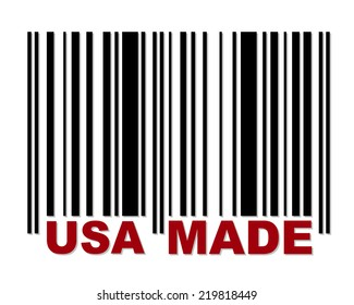 Barcode with red label USA Made