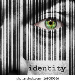 Barcode with the word identity as concept superimposed on a man's face
