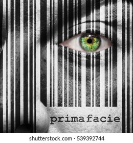 Barcode with the word Prima Facie as concept superimposed on a man's face